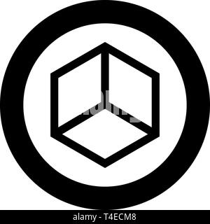 Abstract cube shape Hexagon box icon in circle round black color vector illustration flat style simple image - Stock Photo