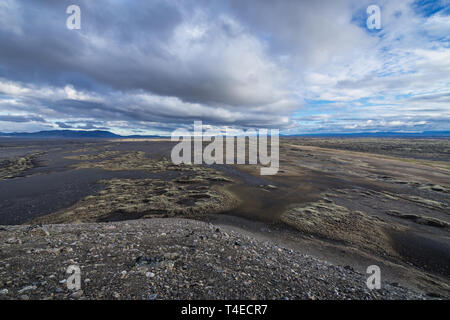 Aerial view from Hrossaborg crater in northeast part of Iceland - Stock Photo