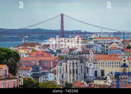 View from Rua Damasceno Monteiro street in Graca neighbourhoods of Lisbon, Portugal with Ponte 25 de Abril bridge