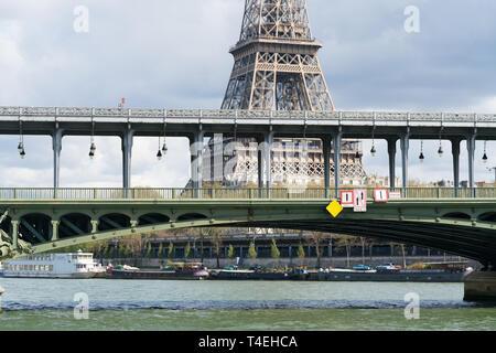 View of Eiffel tower and Bir Hakeim bridge in Paris - Stock Photo