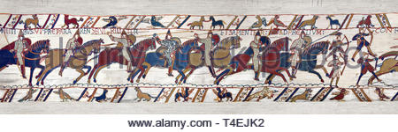 11th Century Medieval Bayeux Tapestry - Scene 51 William encourages his cavalry into battle. Battle of Hastings 1066. - Stock Photo