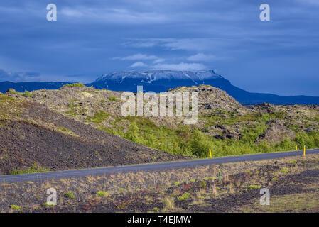 Road 848 along Lake Myvatn near Reykjahlid village in Iceland, Blafjall mountain on background - Stock Photo
