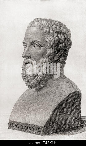 Herodotus, c. 484 BC – c. 425 BC.  Ancient Greek historian.  From The International Library of Famous Literature, published c. 1900. - Stock Photo