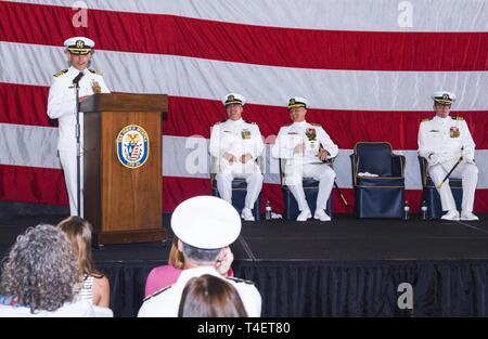 SAN DIEGO (April 3, 2019) Capt. Anthony Roach, commanding officer USS John P. Murtha (LPD 26) gives remarks during the ship's change of command ceremony. USS John P. Murtha is the 10th San Antonio-class amphibious transport dock ship of the United States Navy and is named in honor of Congressman John Murtha of Pennsylvania and homeported in San Diego and is part of Naval Surface Forces and U.S. 3rd Fleet. - Stock Photo