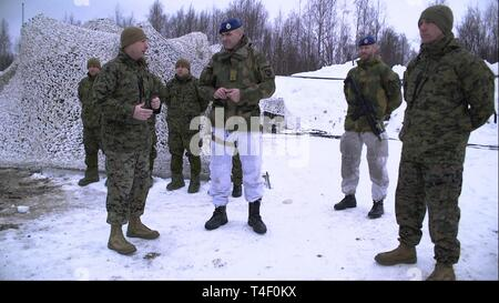 U.S. Marine Corps Lt. Col.  Scott D. Welborn, the commanding officer of 2nd Air Naval Gunfire Liaison Company (ANGLICO), II Marine Expeditionary Force Information Group, recognizes Brig. Gen. Lars S. Lervik, the commander of the Norwegian Brigade North, for participating in the Artic Ribbon ceremony in Haparanda, Sweden, March 20, 2019. During exercise Northern Wind, Marines with 2nd ANGLICO were awarded for their time training in the Arctic Circle during Cold Weather Operations Training. This Cold Weather Operations Training is the entry level cold weather training for Norwegian soldiers. - Stock Photo