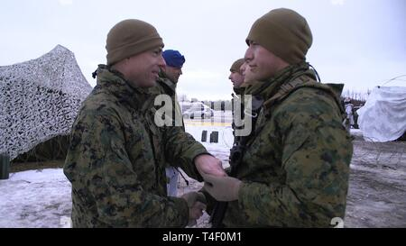 U.S. Marine Corps Lt. Col. Scott D. Welborn, the commanding officer of 2nd Air Naval Gunfire Liaison Company (ANGLICO), II Marine Expeditionary Force Information Group, and Brig. Gen. Lars S. Lervik, the commander of the Norwegian Brigade North, award and congratulate Marines for earning the Artic Service ribbon in Haparanda, Sweden, March 20, 2019. During exercise Northern Wind, Marines with 2nd ANGLICO were awarded for their time training in the Arctic Circle during Cold Weather Operations Training. This Cold Weather Operations Training is the entry level cold weather training for Norwegian  - Stock Photo