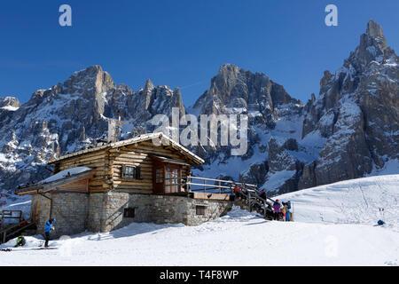 mountain hut, ski pass Passo Rolle, Palla Group, Dolomites, Trentino, Italy, Europe - Stock Photo