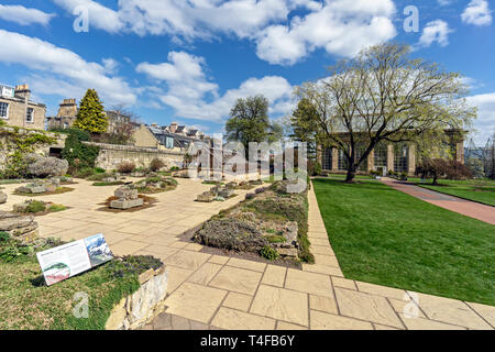 Alpine house and courtyard with victorian palm house behind at The Royal Botanic Garden Edinburgh Scotland UK - Stock Photo