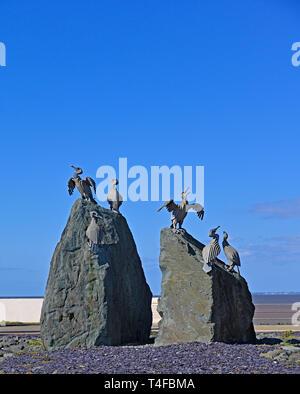 Cormorant bird sculpture. The Tern Project. The Promenade, Morecambe, Lancashire, England, United Kingdom, Europe. - Stock Photo