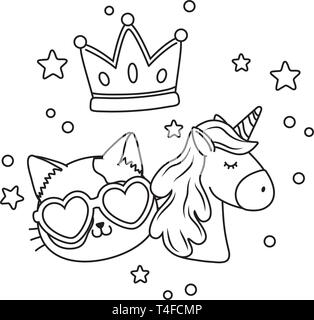 cat wit sunglasses unicorn and crown icon cartoon black and white vector illustration graphic design - Stock Photo