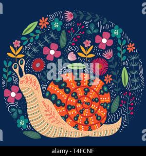 Vector cute illustration of folk snail and flowers on a dark background. Beautiful snail clip-art for your design. - Stock Photo