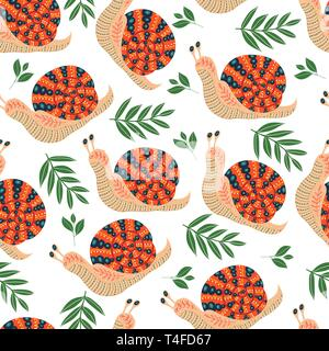 Vector cute seamless pattern with folk snail and leaves on white background. - Stock Photo