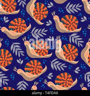 Vector cute seamless pattern with folk snail and leaves on dark blue background. - Stock Photo