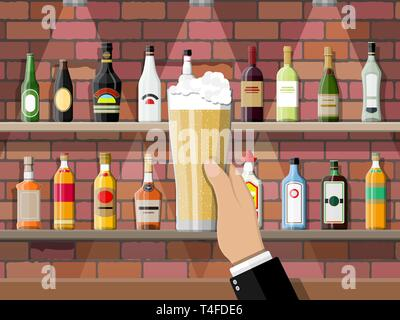 Drinking establishment. Hand with glass of beer. Interior of pub, cafe or bar. Bar counter, shelves with alcohol bottles. Glasses and lamp. Vector ill - Stock Photo