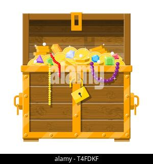 Opened chest with padlock. Chest full of gold coins, jewelry, gems. Wooden treasure box. Vector illustration in flat style - Stock Photo
