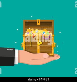 Opened chest with padlock in hand. Chest full of gold coins, jewelry, gems. Wooden treasure box. Symbol of wealth. Vector illustration in flat style - Stock Photo