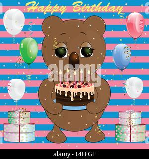 birthday greeting card with koala. cartoon vector illustration. - Stock Photo