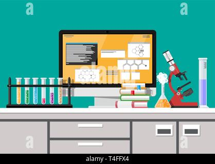 Laboratory equipment, jars, beakers, flasks, microscope and pile of books. Computer with software. Biology science education medical. Vector illustrat - Stock Photo