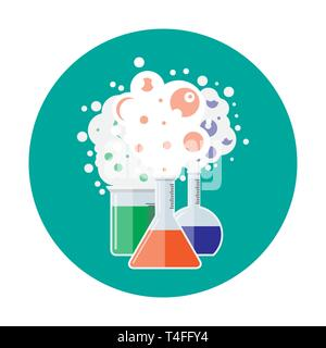 Laboratory equipment, jars, beakers, flasks. Chemical reaction. Biology science education medical. Vector illustration in flat style - Stock Photo