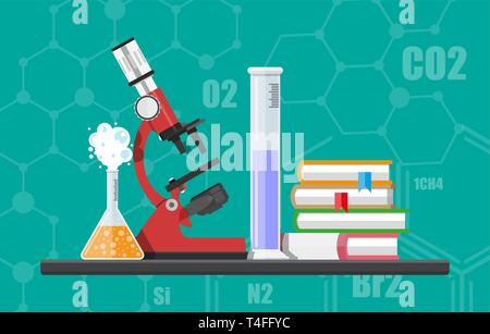 Laboratory equipment, jars, beakers, flasks, microscope and pile of books. Biology science education medical. Vector illustration in flat style - Stock Photo