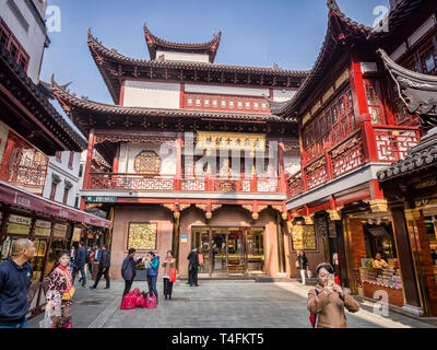 29 November 2018: Shanghai, China - Street in the Old Town shopping area, a major visitor attraction. - Stock Photo