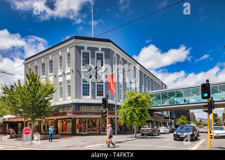 8 January 2019: Christchurch, New Zealand - The Crossing, a new shopping mall built to replace what was lost in the 2011 earthquake. - Stock Photo