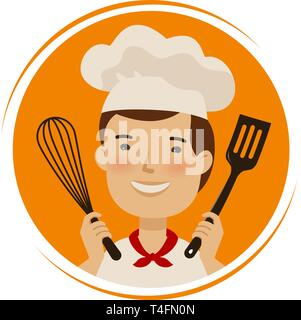 Bakery, cuisine logo. Cute chef in hat with kitchen tools in hands. Cartoon vector illustration - Stock Photo