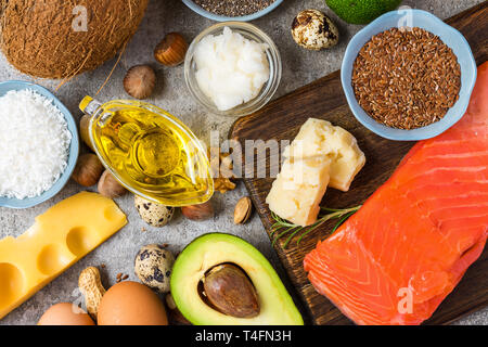 Selection of good fat and omega 3 sources. healthy eating concept. Ketogenic diet. top view - Stock Photo