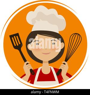 Cooking, cuisine logo. Cute girl in chef hat. Cartoon vector illustration - Stock Photo