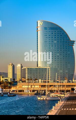 Moll de Llevant marina with W Barcelona hotel in the background, Barcelona, Catalonia, Spain - Stock Photo