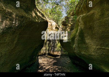 Dry river bed in the narrow section of Ol Njorowa gorge, Hells Gate National Park, Kenya - Stock Photo