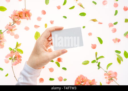 Woman holding blank white business card mock up in hand over white background with blooming springtime flower petals and leaves - Stock Photo