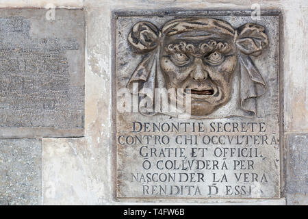 'Lion's mouth' post box for anonymous denunciations, Doge's Palace, Venice, Italy - Stock Photo