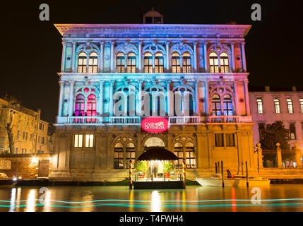 Casino di Venezia illuminated at night, Ca' Vendramin Calergi, Grand Canal, Venice, Italy - Stock Photo