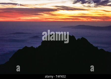 Scenic view on the Kilimanjaro mountains in Africa. Black high peaks on the warm pink background of the sunrise. Freedom and wild nature, great place - Stock Photo
