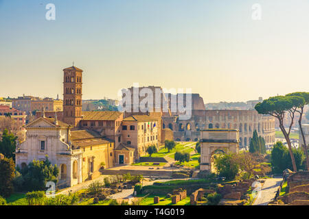 Rome, Italy city skyline with landmarks Colosseum and Roman Forum view from Palatine hill. famous travel destination of Italy