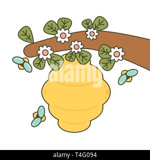 cute cartoon bees and beehive vector illustration - Stock Photo