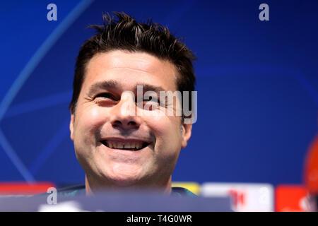 Tottenham Hotspur manager Mauricio Pochettino during the press conference at the Etihad Stadium, Manchester. - Stock Photo