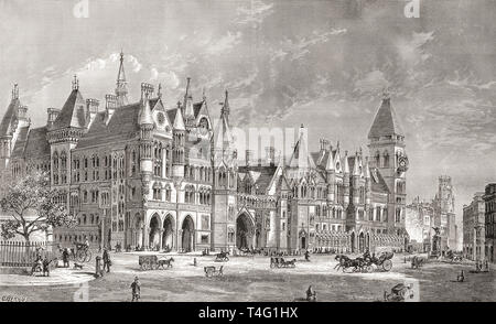 The Royal Courts of Justice, London, England, the facade onto The Strand, seen here in the 19th century.  From London Pictures, published 1890 - Stock Photo