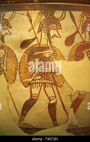 Large wine krater known as 'House of the Warrior Vase', showing men in full armour ( helmet, cuirass, greaves, shield and spear ) as they depart fro w - Stock Photo