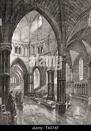 The interior of The Temple Church, London, England, seen here in the 19th century.  From London Pictures, published 1890 - Stock Photo