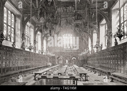 The Great Hall of the Middle Temple, London, England, seen here in the 19th century.  From London Pictures, published 1890 - Stock Photo