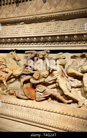 Greek relief sculptures on Alexander The Great ( Alexander III of Macedon ) 4th Cent BC. Sarcophagus calved from Pentelic Marble from the Royal Necrop - Stock Photo