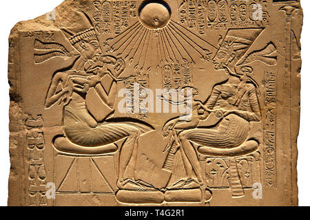 Ancient Egyptian house altar relief sculpture of Akhenaten, Nefertiti and their three daughters. 18th Dynasty 1345 BC . Neues Museum Berlin AM 14145 - Stock Photo