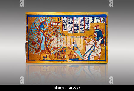 Ushabti box of Sched-es-en-mut. Egyptian painted wooden box panel of the deceased in front of a tree goddess, 1540-1075 BC . Neues Reiche Museum, Berl - Stock Photo