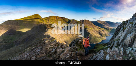 sunrise over the snowdonia national park - Stock Photo