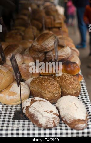 Freshly baked bread stall - Stock Photo