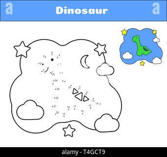 Connect the dots. Dino print cards for educational game. Coloring book for preschoolers. Cartoon character dinosaur. Cute diplodocus and clouds, moon, - Stock Photo