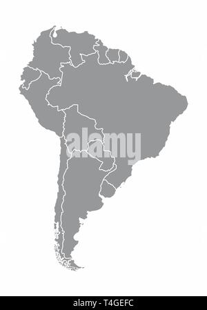 Illustration of a gray South america map on white background - Stock Photo