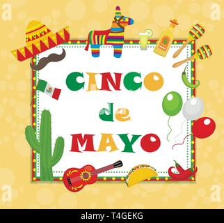 Cinco de Mayo greeting card, template for flyer, poster, invitation. Mexican celebration with traditional symbols. Vector illustration. - Stock Photo
